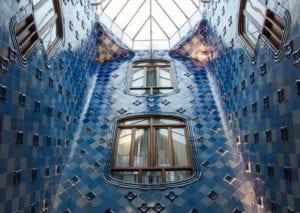 Blue tile walls inside Casa Batllo