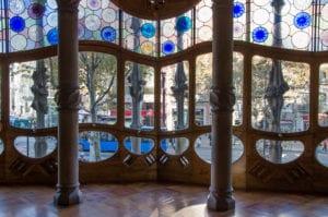 Overlooking Passeig de Gracia from inside Casa Batllo