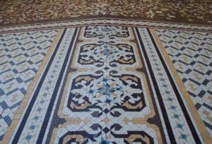 Mosaic tiles of the outdoor patio of Casa Batllo.