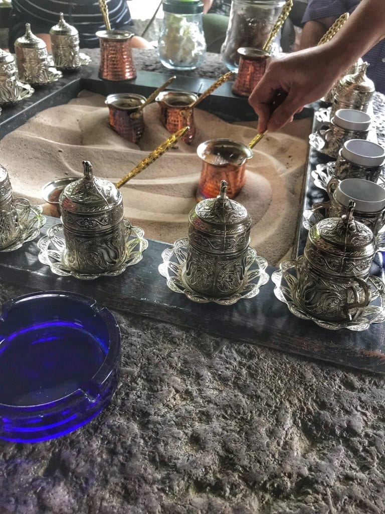 image of a Turkish coffee demonstration