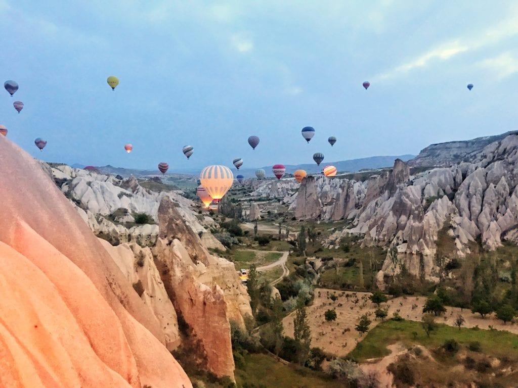 image of sun rising over Cappadocia
